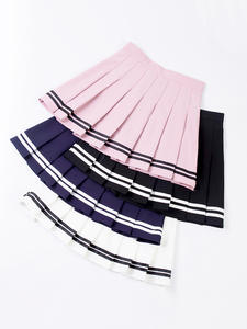 SCOUMAKO 2019 High Waist Striped Pleated Skirt Women Cute