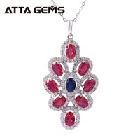 Red Ruby Sterling Silver Pendants for Women Engagement Wedding Birthday Gifts 4.5 Carats Created Ruby Women Silver Pendants