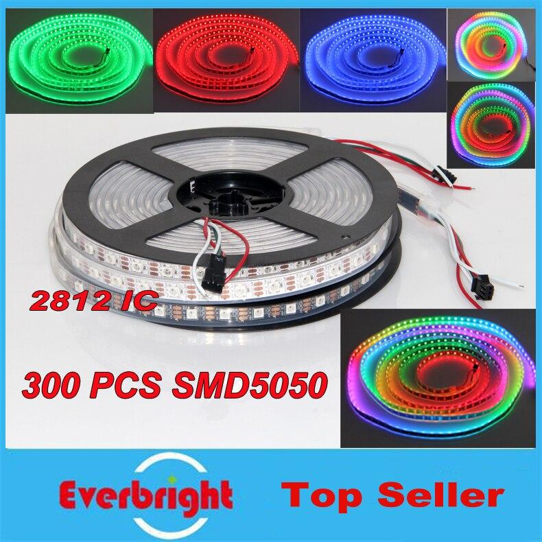 5 M 60 Pixel/M blanc/noir PCB WS2812B WS2812 IC 300 LED s SMD 5050 lumière bande de pixel LED rgb étanche IP67 + 10 contrôleur RF clé