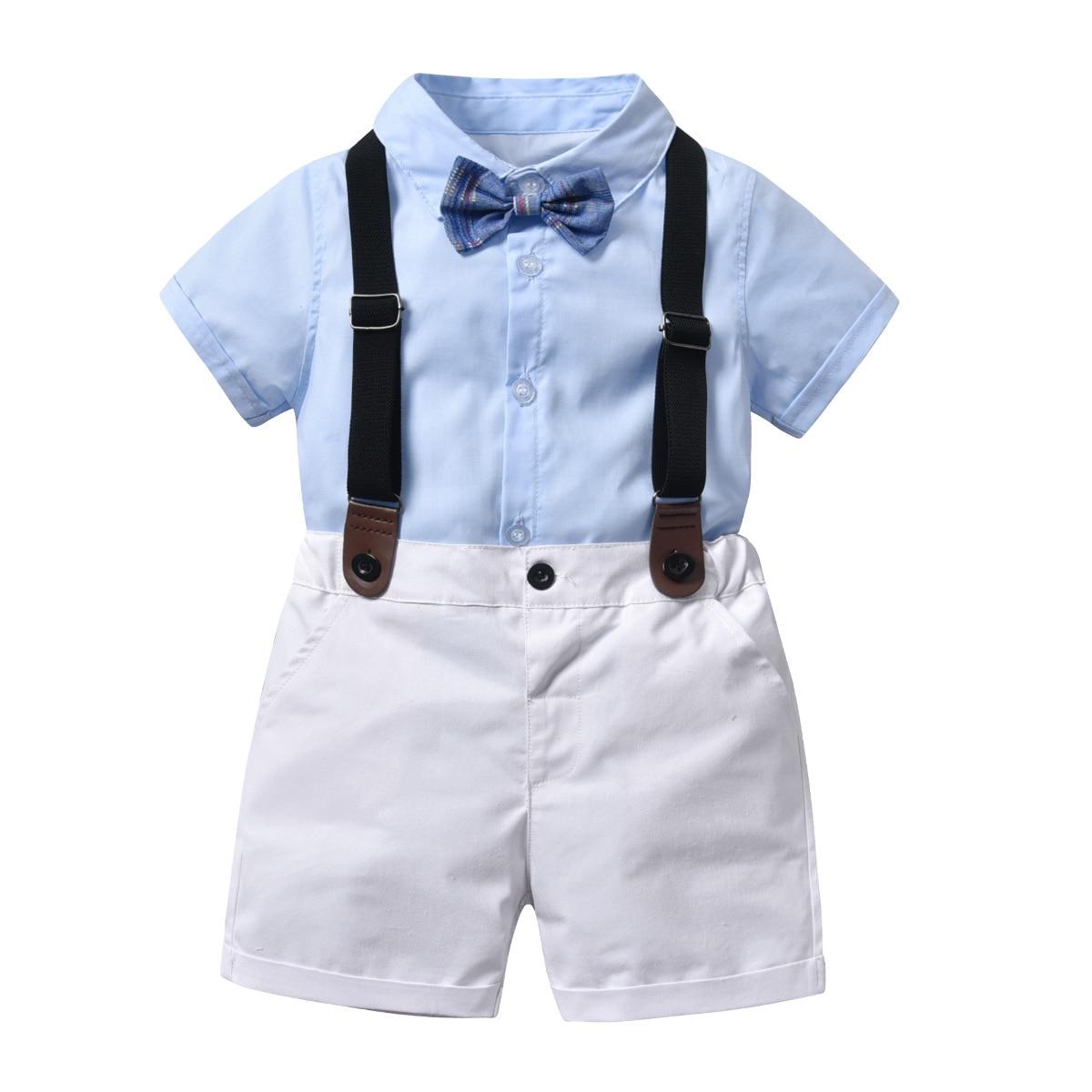 Summer Kids Suits Blazers For Boy Costum 2019 Baby Boys Shirt Overalls Suit Boys Formal Wedding Wear Cotton Children Clothing