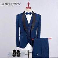 Green Men Suits 2018 Wedding Party Black Shawl Lapel Slim Fit Groom Blazer 3 Piece Groomsmen Bridegroom Suit (Jacket+Pants+Vest)