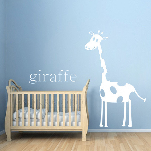 Giraffe modern nursery art print in orange personalized for Nursery wall art