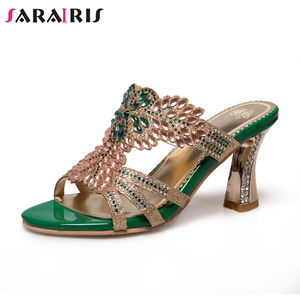 SARAIRIS 2019 Summer Brand Plus Size 32-46 Women Crystal Mules Ladies Slip-on High Heels Pumps Female Metalic Shoes Woman