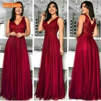 Elegant 2019 New Burgundy V Neck Prom Dresses Sexy Sleeveless Zipper Special Occasion Dress Long Prom Vintage Party Evening Gown