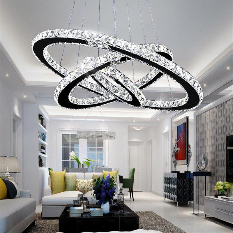Crystal 3 Rings Chandeliers Modern Led Chandeliers Lustre For Living Room Stainless Steel Suspension Luminaire Hanging Lighting led chandeliers lustre para hanging light clear villa hotel home decoration living bedroom crystal suspension lighting fixtures