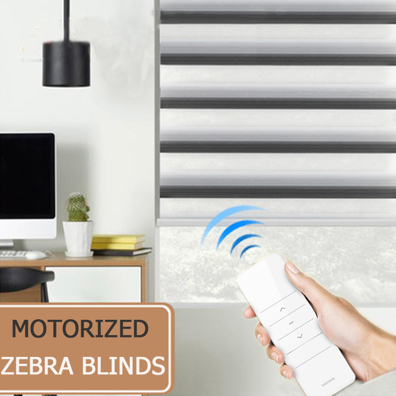 New arrival motorized zebra blinds roller shutter transparent fabric tubular battery motor KM25LE smart home intelligent