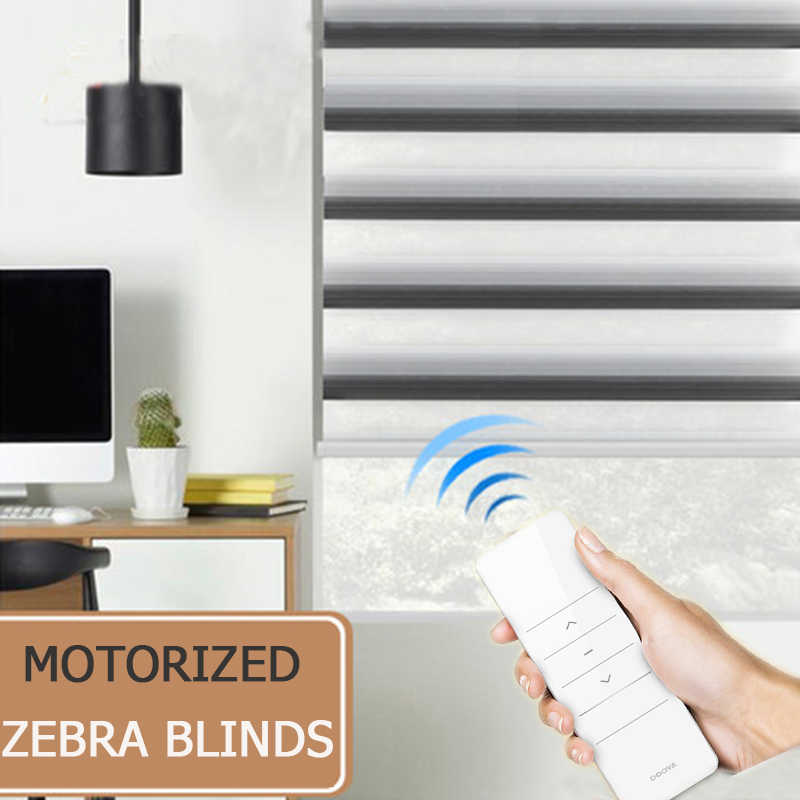 New arrival motorized zebra blinds roller shutter transparent fabric tubular battery motor KM25LE smart home intelligent control