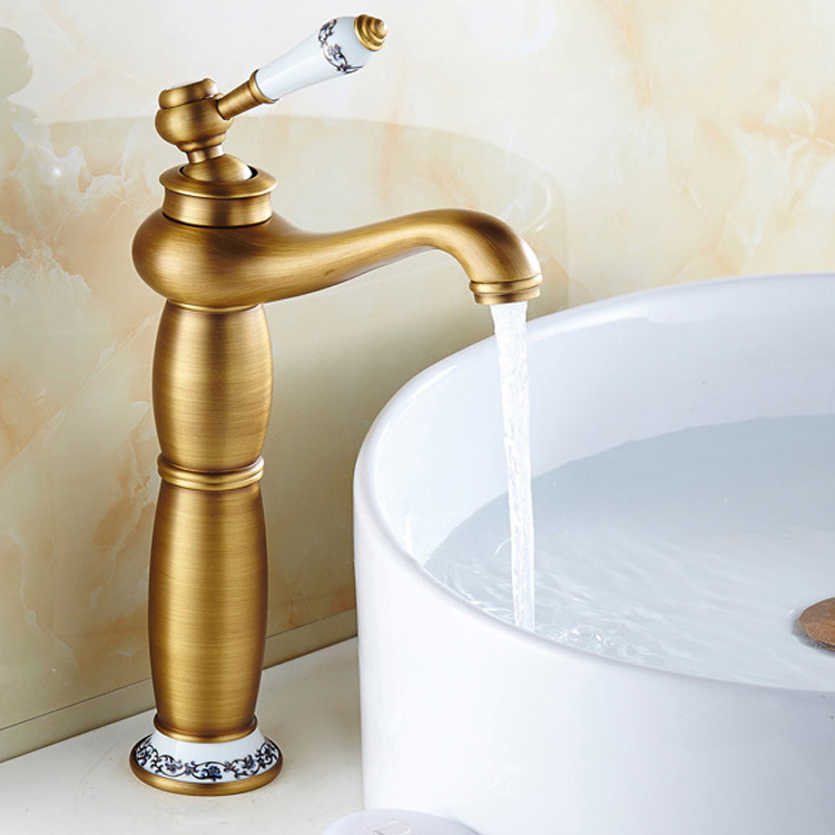 Blue and white porcelain golden antique basin mixer taps bathroom sink hot and cold water faucets Dona4008Blue and white porcelain golden antique basin mixer taps bathroom sink hot and cold water faucets Dona4008