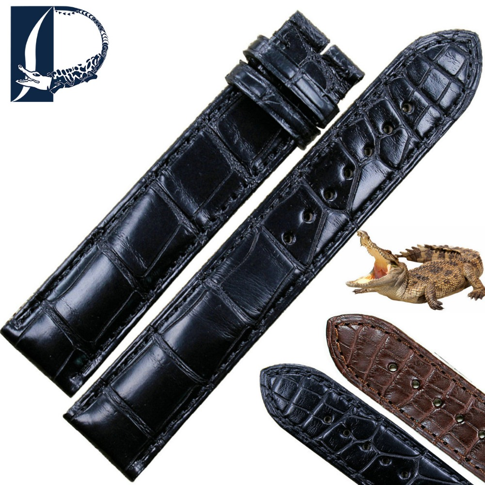 цена Pesno Superior Quality Crocodile Leather Watch Strap Black Brown 18.5mm Men Watch Accessories Watch Band