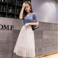 NEEDBO Sexy Midi Tulle Skirt Pleated Skirts Casual Slim Fit Women Mesh For Summer WS25461