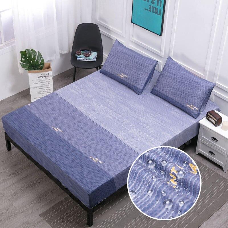 Azul impermeável colchão almofada anti-ácaro capa de cama folha colchão protetor capa lavável couvre iluminado cubre cama capa de colchão