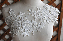 10 pairs Gorgeous Venice Lace Applique Pair Crochet Bridal Veil Wedding Gown Lace Motif Patch in White Red Royal Blue