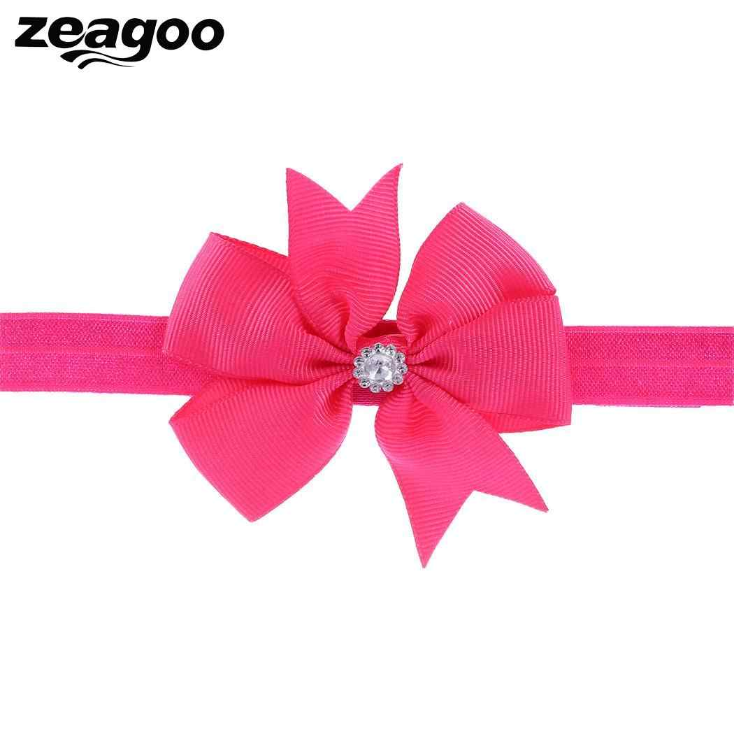 Zeagoo 1 Pcs Elastic Wide Flower Fashion Eye-catching Crystal Soft Headband For Kids Girls Casual Party 20 Colors Hair Accessory