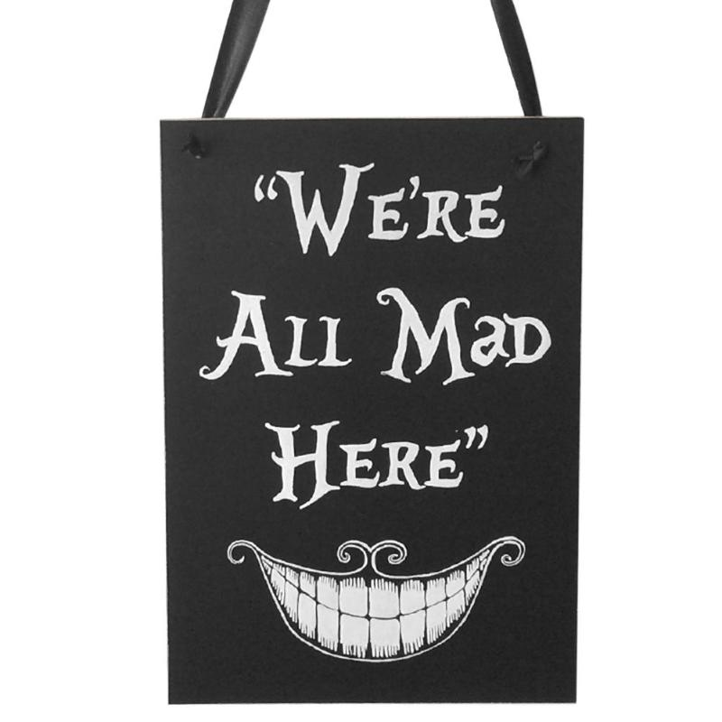 Halloween Hanging Wooden Direction Signs Board WE ARE ALL MAD HERE Party Festival Decoration Halloween Supplies Sign Board