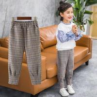 2019 Spring Pants For Girls Casual Style Plaid Children Pants Elastic Waist Kids Leggings Teenage Kids Trousers Clothes N06