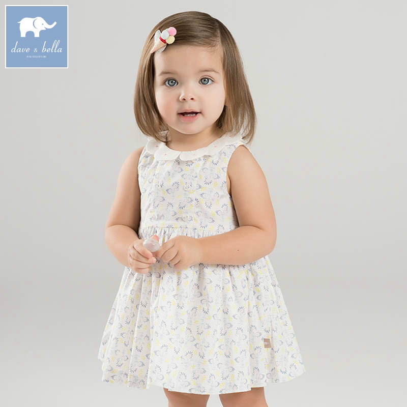 DBZ7252 dave bella summer infant baby girl's princess dress floral birthday wedding party dress toddler children clothes цена 2017