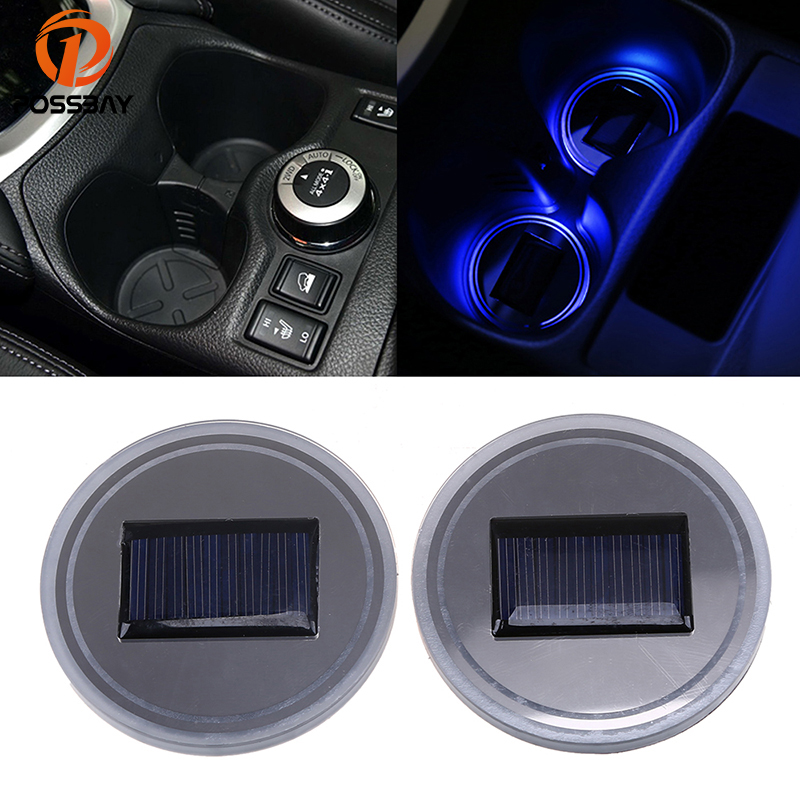 Humorous Possbay 2pcs Solar Energy Car Cup Holder Bottom Pad Led Light White/red/green/blue/pink Purple Lamp 72mm Car Anti Slip Mat Pads Discounts Price Automobiles & Motorcycles