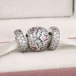 Fits Pandora Charms Bracelet and Necklace 925 Sterling Silver Charm Sets White Stone Pink Star Beads Women Design Drop Shipping