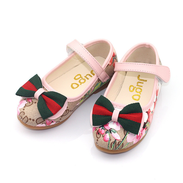 Girls School Shoes Baby Kids Princess Flats Bow-knot Shoes Spring Autumn Girls Dresses Shoes Loafers Slip-On Soft Leather Shoes