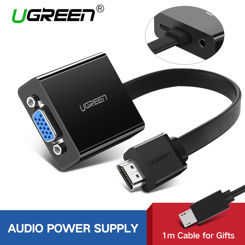 Ugreen HDMI to VGA Adapter for PS4 Pro Raspberry Pi 3 2 Chromebook TV HDMI VGA Cable Digital Analog Audio VGA to HDMI Converter cable creation hdmi к vga конвертер с aux