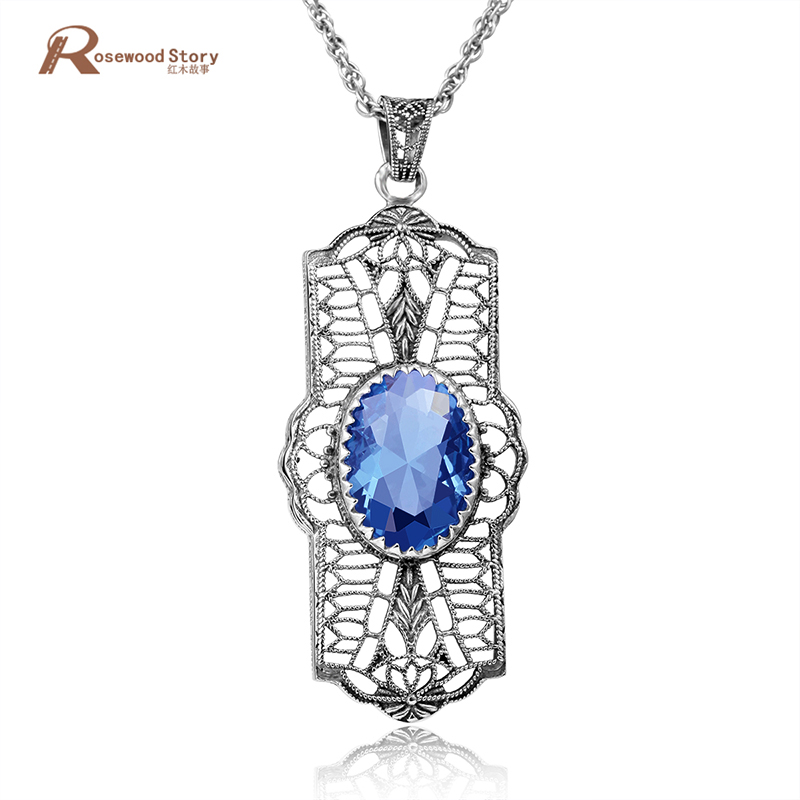 New Boho Fashion Sky Blue Stone Crystal Pendants Cocktail Party Jewelry 925 Sterling Silver Statement Necklace Pendants