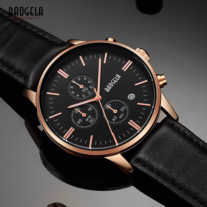 BAOGELA Men's Chronograph Quartz Watches Classic Rose Gold Leather Strap Analogue Wrist Watch for Man Luminous Hands 1611PD-MH