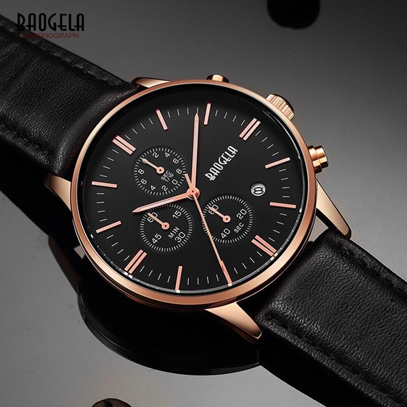 BAOGELA herren Chronograph Quarz Uhren Klassische Rose Gold Lederband Analog Armbanduhr für Mann Leuchtzeiger 1611PD-MH