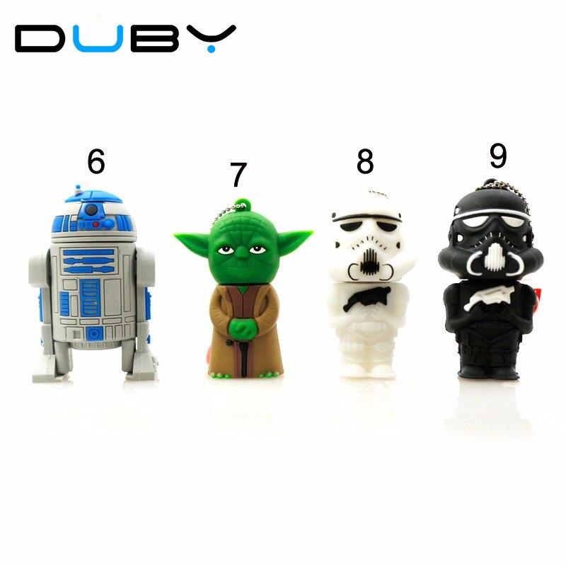 Star Wars Darth Maul/black/white Vader R2D2 Robot Boba Yoda USB Flash Drive/U Disk/Creativo Pendrive/Memory Stick/Gift 128mb 8gb