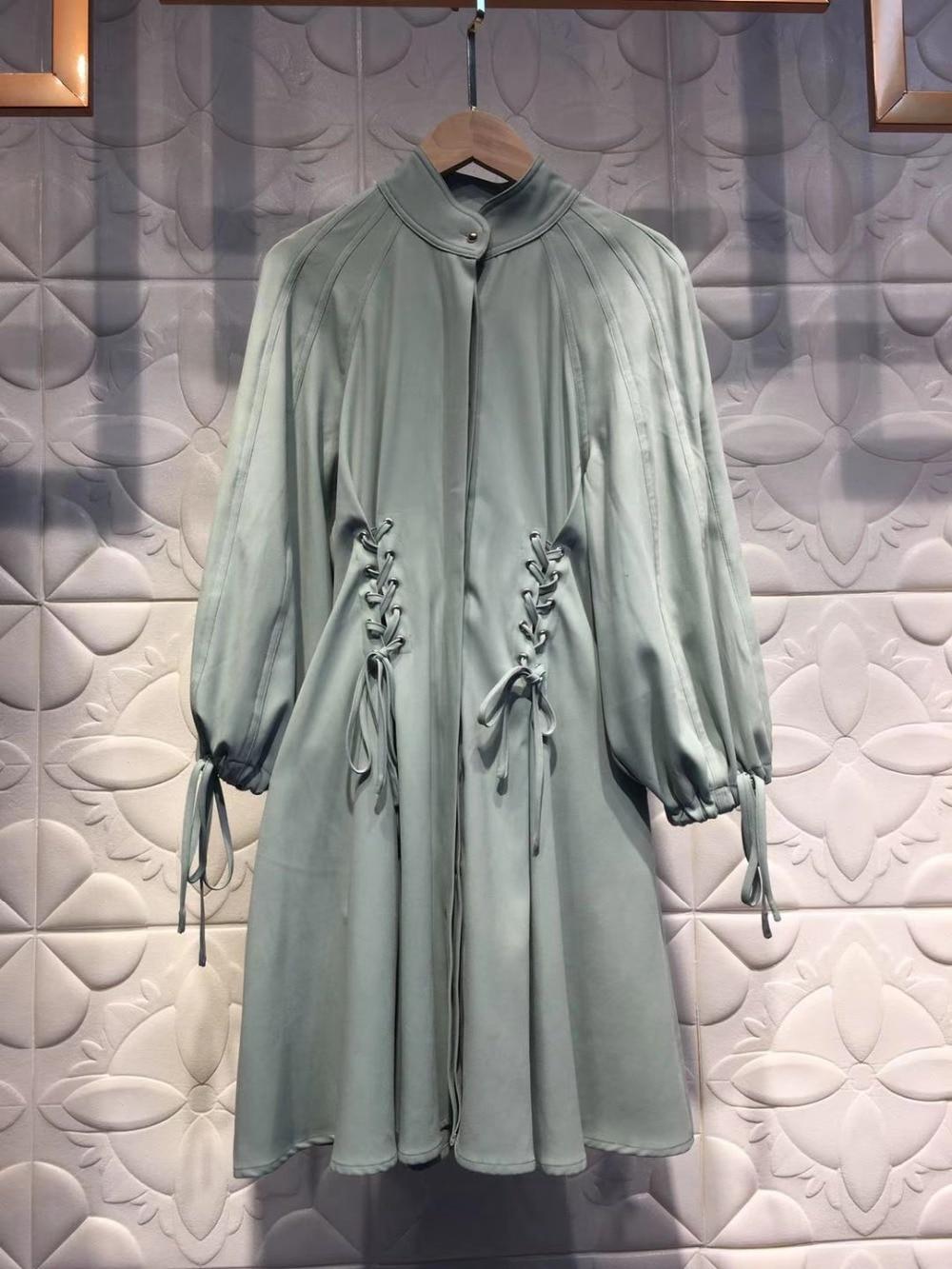 Arc ligne Gland Piste Mini Manches Femmes Vert Vintage 2018 Lin A En Européen Robe Automne Clair Souffle xn1wYqY4f