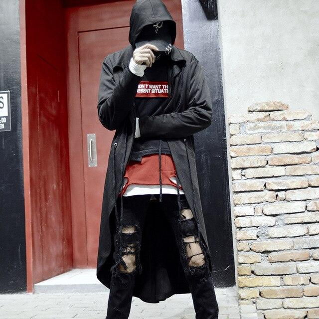Men black thin punk hip hop long trench coat gothic hooded jacket cloak man nightclub singer stage cape street style cardigan