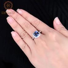 宝石のバレエ 3.66Ct ナチュラルアイオライトラウンドルースビーズブルーミスティック宝石用原石の 925 スターリングシルバーリング結婚式ファインジュエリー用