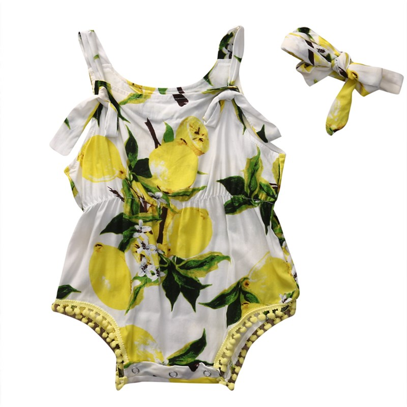 Newborn Kids Baby Girls Cotton Bowknot Strapless Lemon Print Romper Headband 2PCS Set Jumpsuit Playsuit Summer Outfits Clothes 3pcs set newborn infant baby boy girl clothes 2017 summer short sleeve leopard floral romper bodysuit headband shoes outfits
