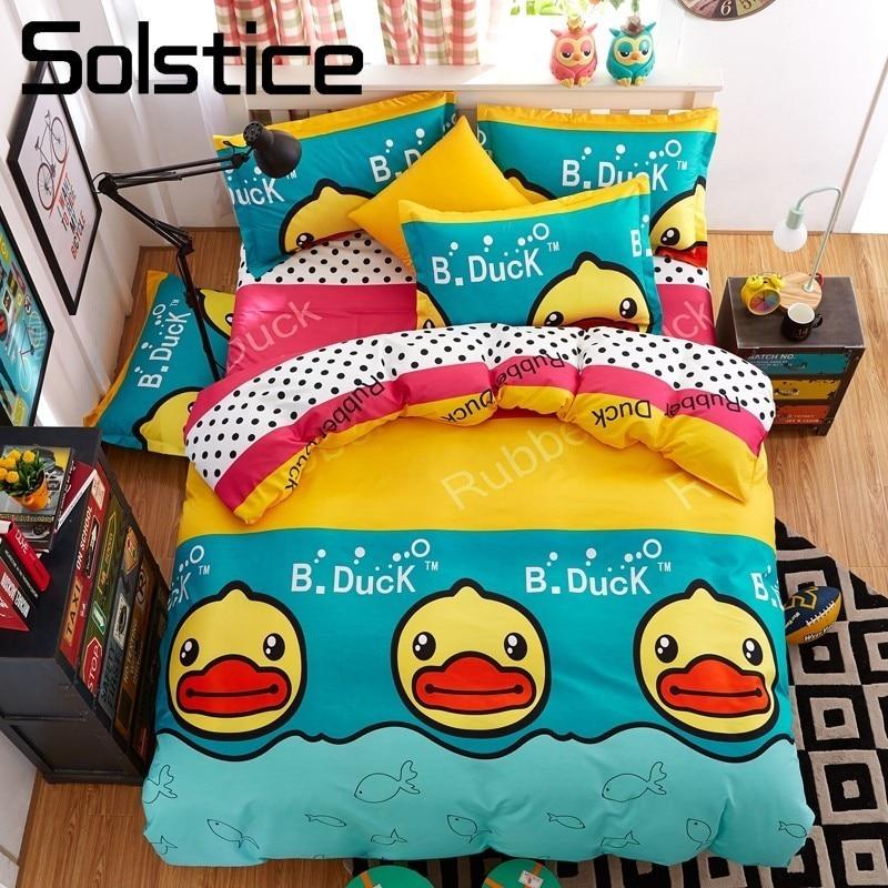 Solstice Home Textile Yellow Duck Kids Teen Bedding Sets Boy Child Bedlinen Twin Full King Size Duvet Cover Pillowcase Bed Sheet