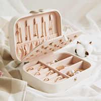 Caja de joyería de viaje joyería Comestic organizador de ataúd maquillaje lápiz labial caja de almacenamiento contenedor de belleza collar de regalo de cumpleaños