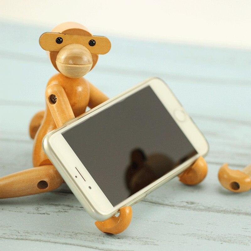 Children toys wooden monkey fun mobile bracket cell phone mount animal holder