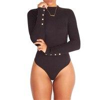 Bodysuit Women 2016 Sexy Women Bodysuit Turtleneck Longsleeve Rompers Black Bodycon Jumpsuit Short Combinaison Femme Overalls