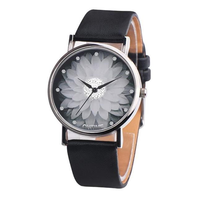 aaac3416061a OKTIME mujer relojes casuales flor patrón de cuero de la PU banda analógico de  cuarzo reloj