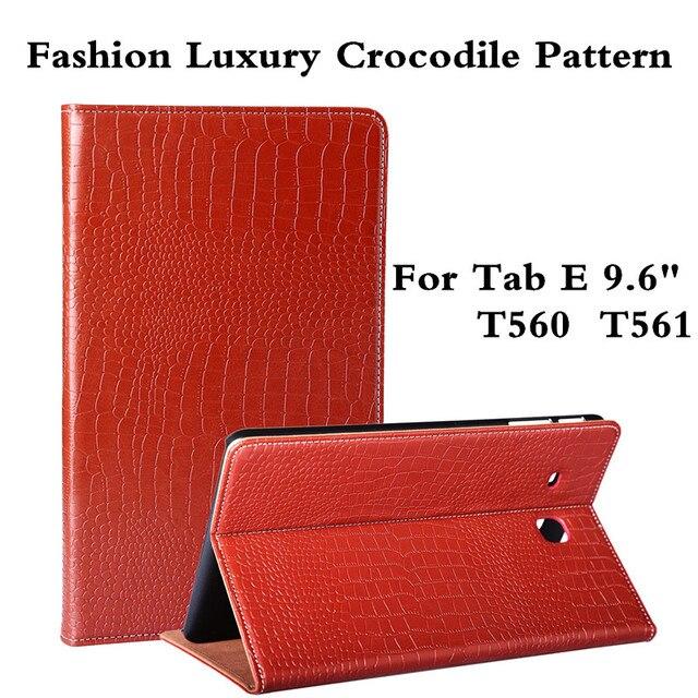 Мода Роскошные Крокодил Шаблон Pu Кожаный Tablet Case Cover For Samsung Galaxy Tab E 9.6 T560 T561 Протектор Фильм Пера В Качестве Подарков
