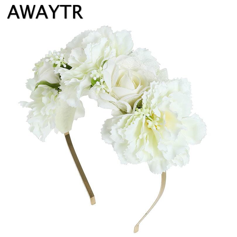 Head Band AWAYTR White Beige Flower Wreath Wedding Headwear For Female Spring Beach Hairbands Bezel Photograph Garlands