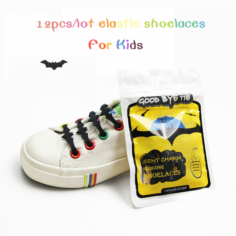 12pcs/lots Children Silicone Slacker Shoelaces Creative Bat Soft Silicone Lace No-tie Elastic 4.5cm Sports and Sneakers Black