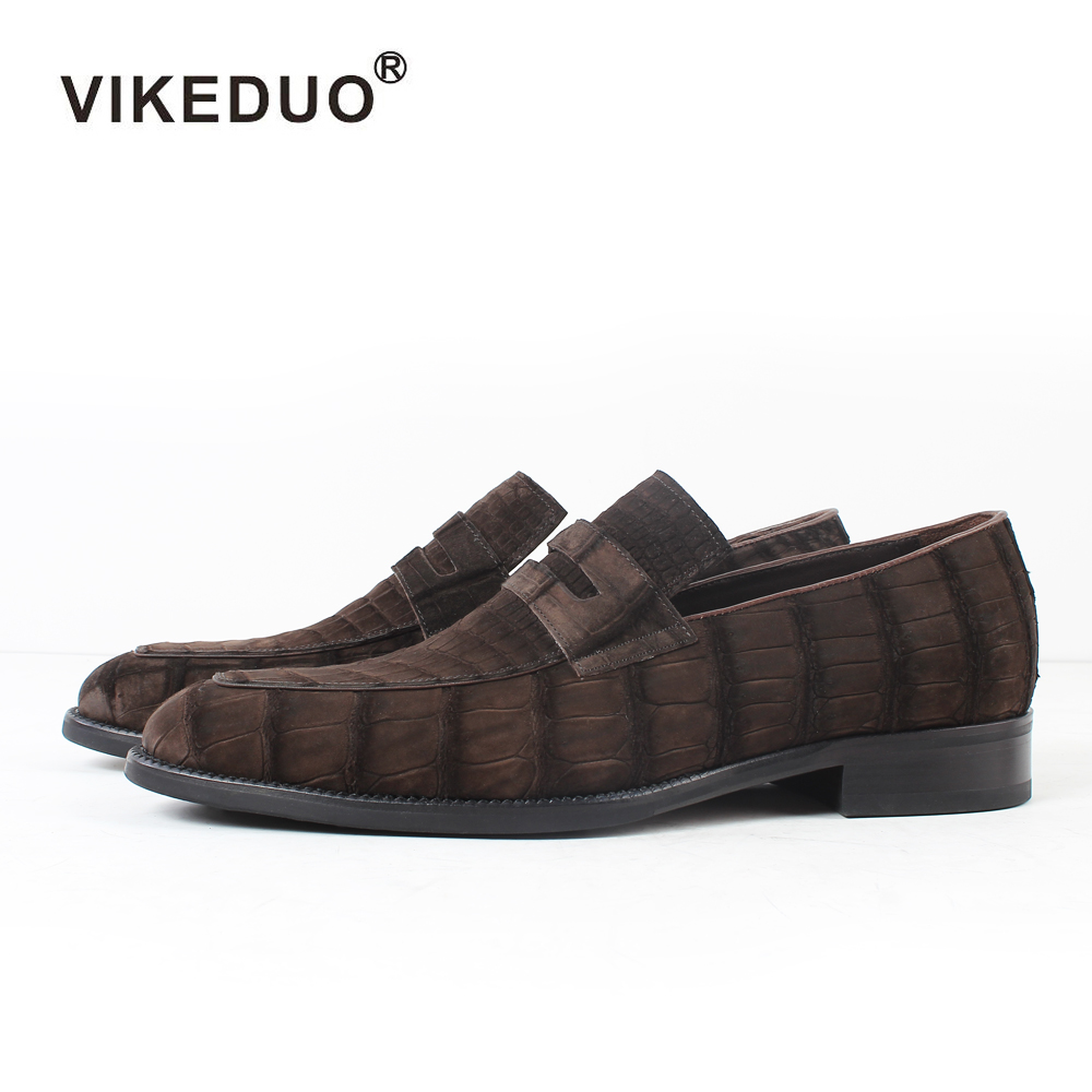2019 Vikeduo Hot Men's Crocodile Skin Loafers Shoes Custom Genuine Leather Fashion Party wedding Dress Office Original Designer