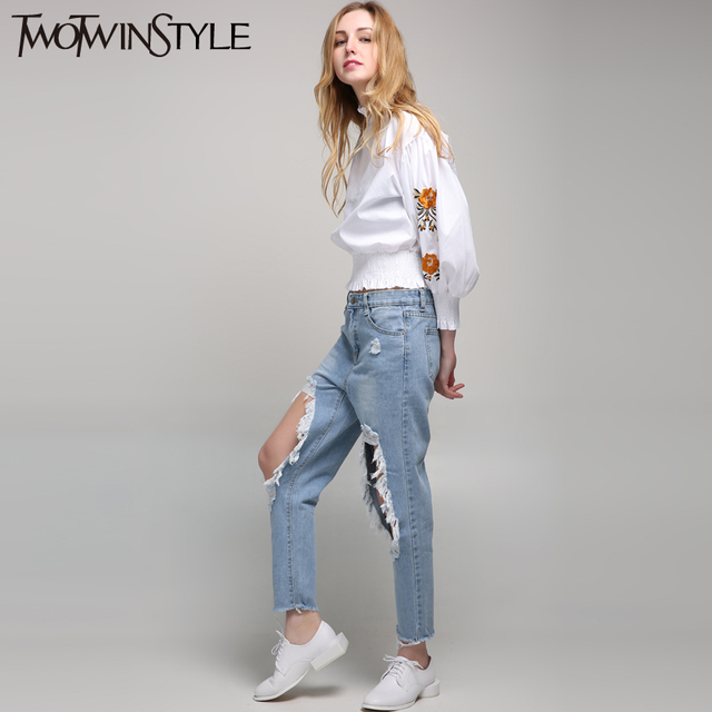 [TWOTWINSTYLE] 2017 Summer Ripped Hole Denim Jeans Trouser for Women's Pants Clothes Large Big Size New Fashion