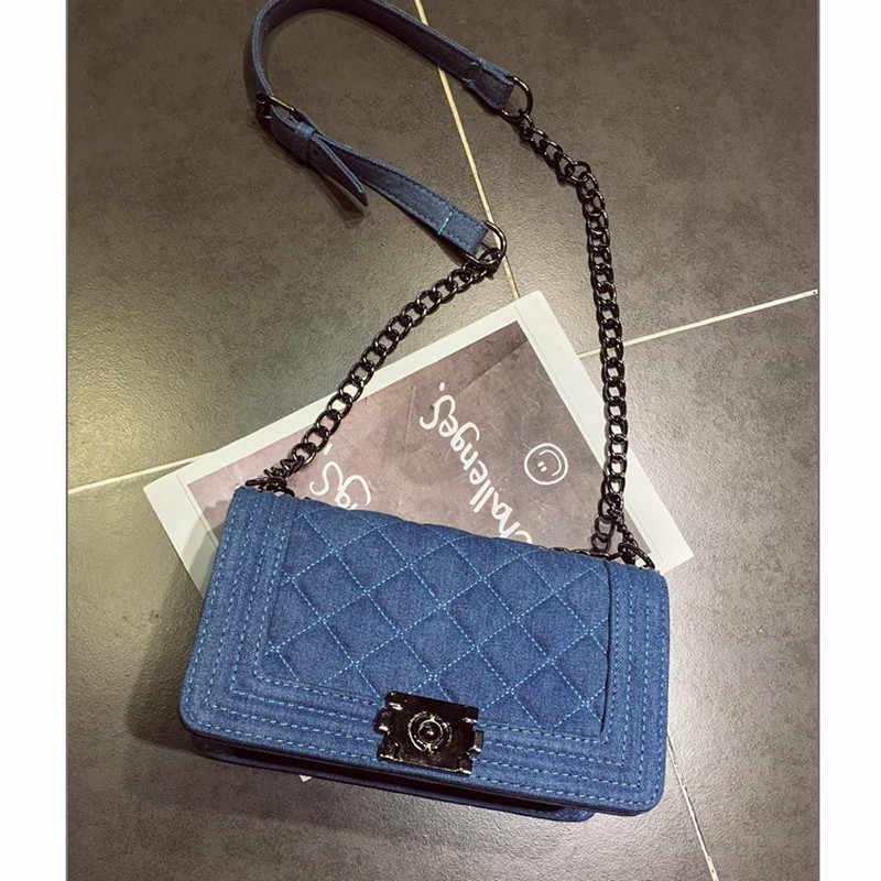 2e2ca9880466 Брендовая джинсовая сумка женский роскошный Сумки Для женщин сумки  дизайнера маленький цепь сумка Crossbody сумки для