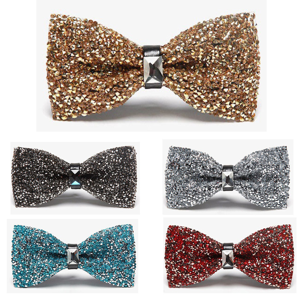 Men Luxury Sparkling Bowties Noble Shiny Crystal Rhinestone Wedding Bow Ties BWTQN0030