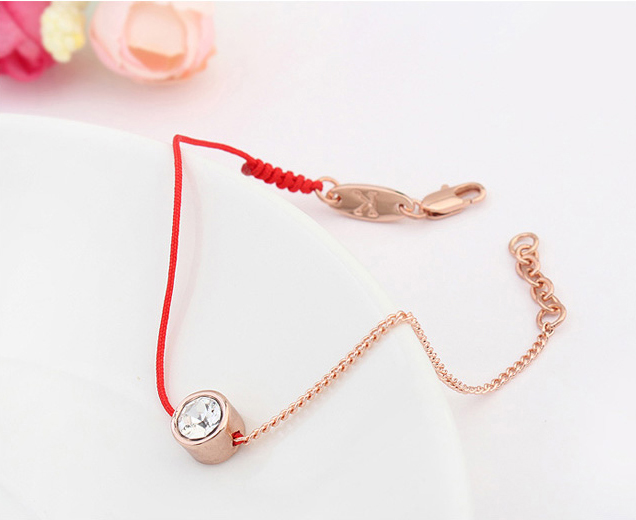 Krystall fra østrigske smykker tynn rød tråd streng tau Charm armbånd for kvinner Fashion Rose Gold Farge sommer 117884