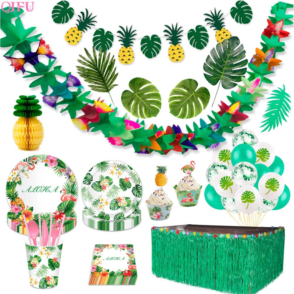Tropical Party Hawaii Beach Flowers Hawaiian Party Decorations Birthday Party Green Decor Jungle Party Set Wedding Decor Summer
