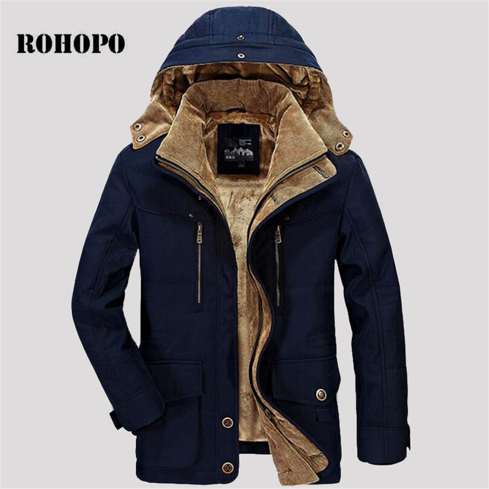 ROHOPO 5XL/6XL oversize 100% Cotton   Parkas   men,Removed Hat collar Fleece Tactical Militar   parka   man,cargo pocket cotton jacket
