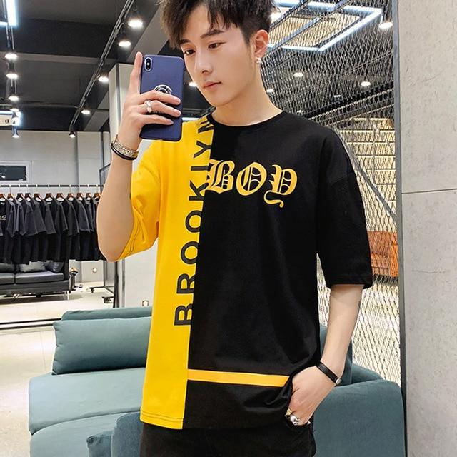 Homens T-shirt 2019 novo verão hip hop T-shirt de algodão fino patchwork carta estudante do sexo masculino adolescente menino encabeça moda venda quente t03