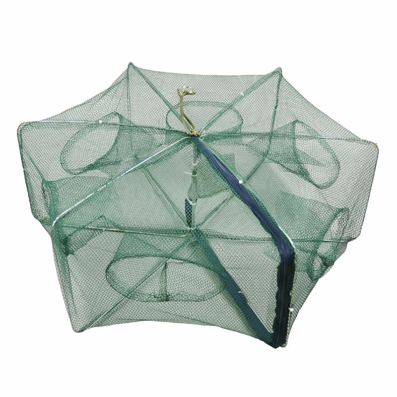 Folded Hexagon 6/8/12/16 Hole Fishing Shrimp Automatic Trap Fishing Net Fish Shrimp Minnow Crab Baits Cast Mesh Trap