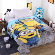 Hot Sale Cute Cartoon Minions Blanket for Kids Gift Coral Fleece Blanket Throw on Bed,sofa,Winter Flat Bedsheet 150x200cm